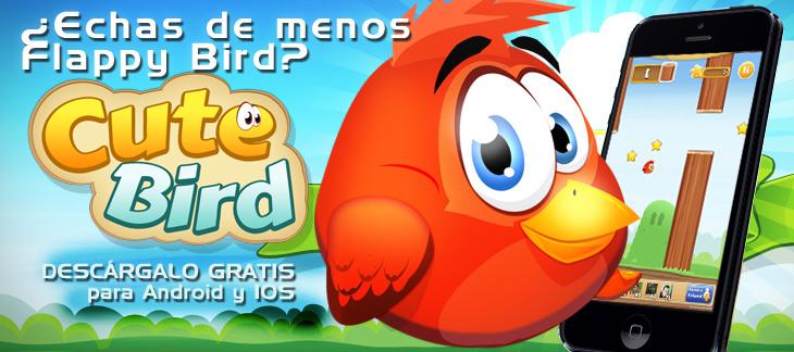 ¿Echas de menos Flappy Bird? Ha llegado la versión más bonita de todas. Cute Bird debe sobrevivir. Ayúdale y reta a tus amigos en Facebook!